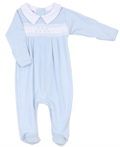 Mandy & Mason's Classics Smocked Footie in Blue