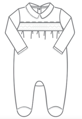 Mandy & Mason's Classics Smocked Footie in White