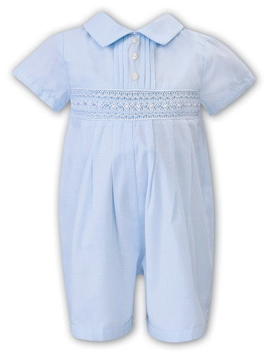 Blue Collared Smocked Bubble