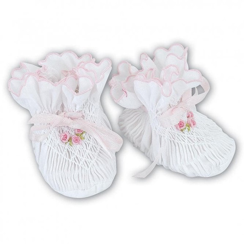 White w/ Pink Smocked Booties