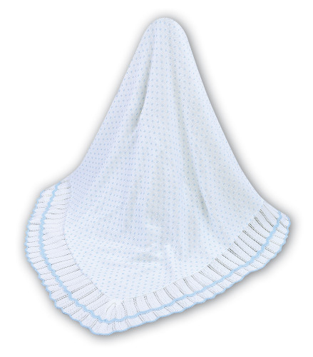 Ivory & Blue Knitted Blanket