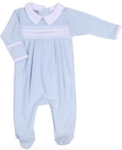 Layla & Lennox Smocked Collared Footie in Blue