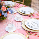TableStar Table Runner in Coral Damask for 60 inch (153cm) Round Tables - for 8 guests