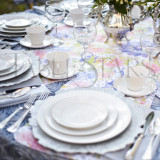 Silver Leopard with Spring Florals TableStar Table Runner for 60 inch (153cm) Tables - seats 8