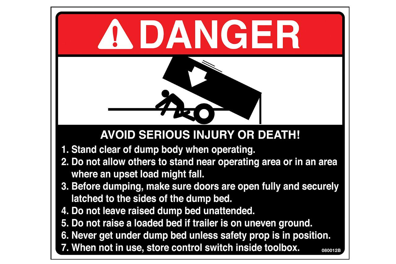 Label, Danger Dump Body