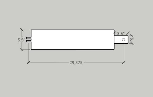 Cylinder, 5 X 21-1/2 X 2