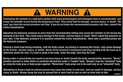 Label, Warning Dump Hydralics