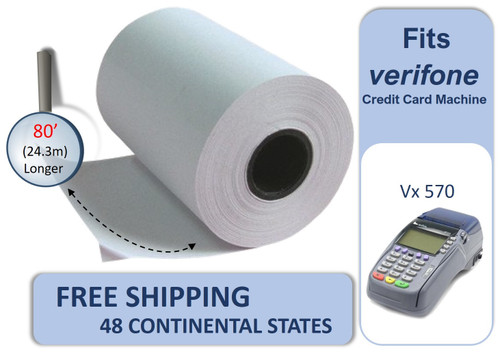 Vonlyst Receipt paper for Verifone Vx570 credit card machine 2-1-4-x-80 10 rolls