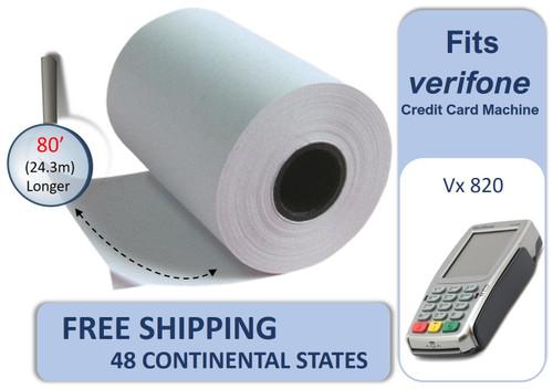 Vonlyst Receipt paper for Verifone Vx820 credit card machine 2-1-4-x-80 10 rolls