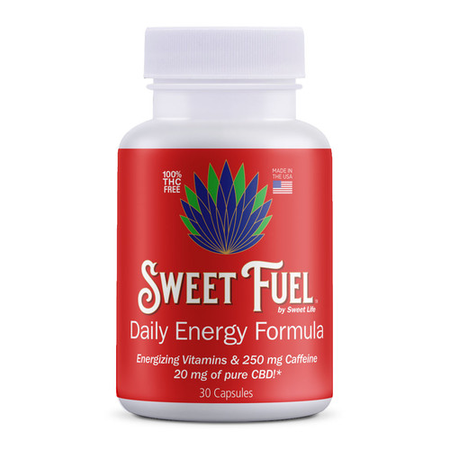 Premium 30 count of Sweet Fuel CBD Energy Capsules, each packed with CBD Isolate, caffeine, ginseng, and more.