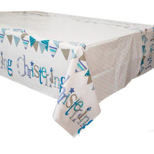 "Blue Bunting Christening Rectangular Plastic Table Cover, 54""x84"""