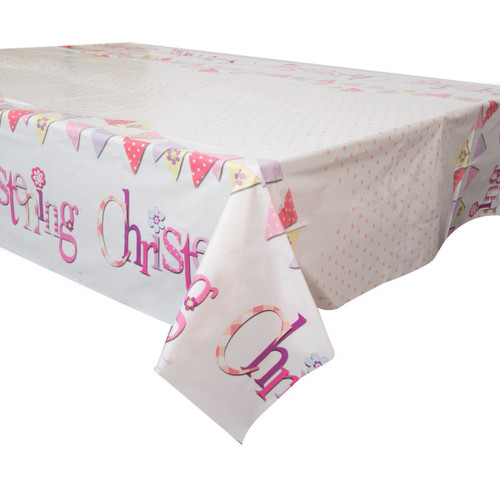 christening plastic table cover