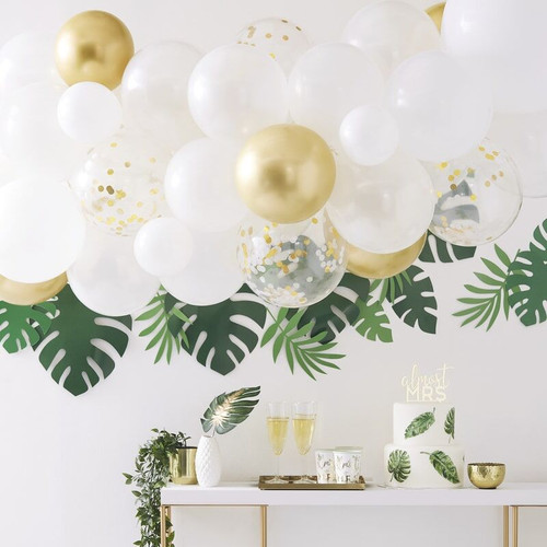 Gold and white balloon arch diy
