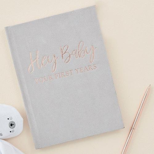 Grey Suede Baby Journal Book