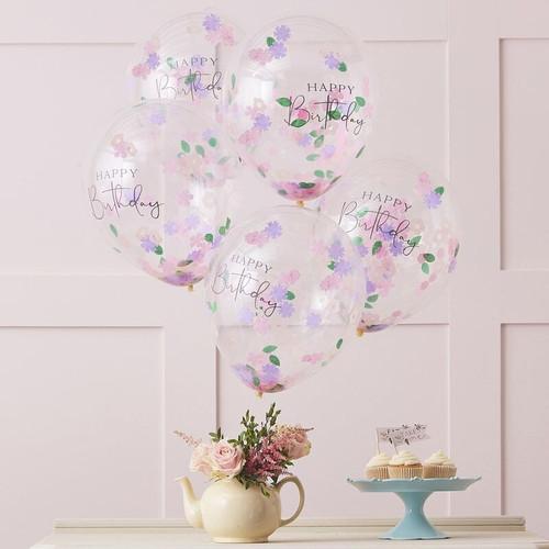 Floral Confetti Happy Birthday Balloons