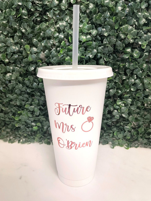 Personalised Bridal Cold Cup - White