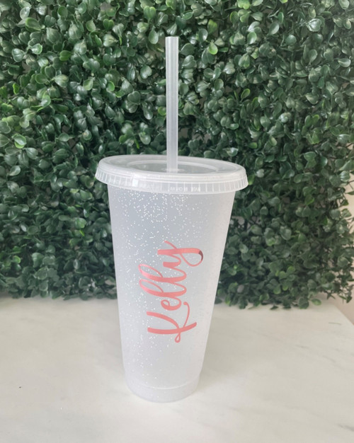 Personalised Clear Sparkle Cold Cup - with Name