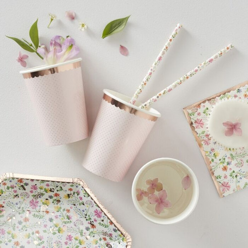rose gold polka dot party cups