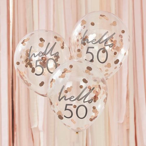 50th confetti balloons