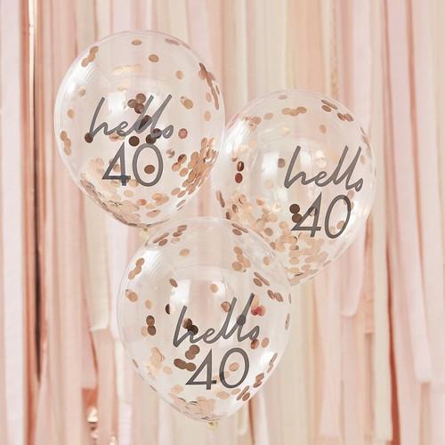 40th birthday confetti balloons