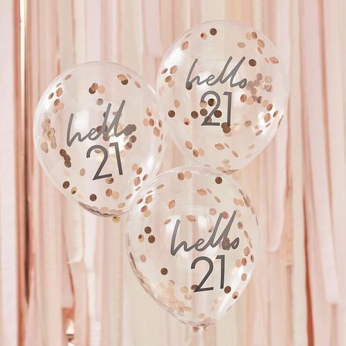 21st birthday confetti balloons
