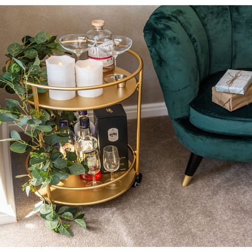Small Round Drinks Trolley, Gold