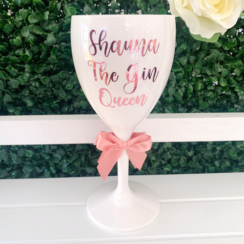 Personalised Any Wording Wine/Gin White Glass