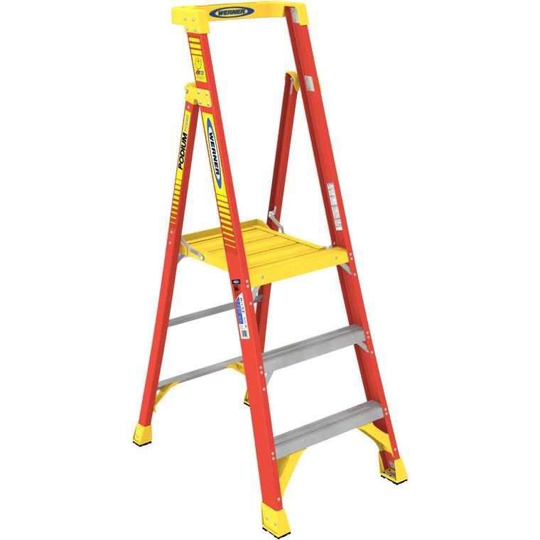 Werner #PD6203 3 Ft. Fiberglass Podium Ladder Type 1A 300 Lbs.