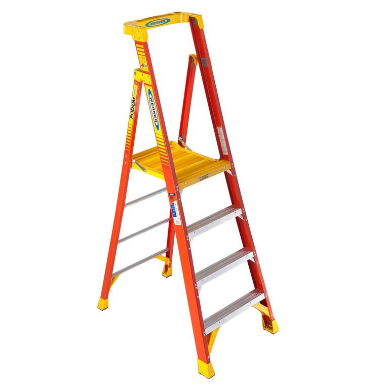 Werner #PD6204 4 Ft. Fiberglass Podium Ladder Type 1A 300 Lbs.
