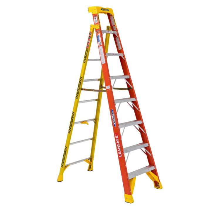 """Werner #L6208 8 Ft. """"LEANSAFE"""" Fiberglass Step Ladder"""