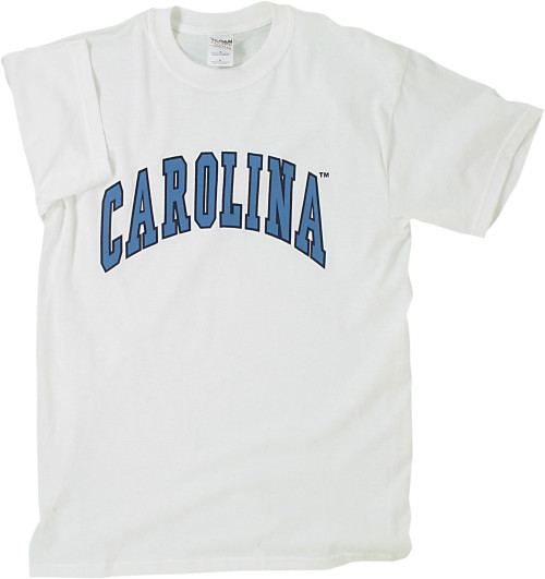 White Carolina tee shirt with Carolina in an arc