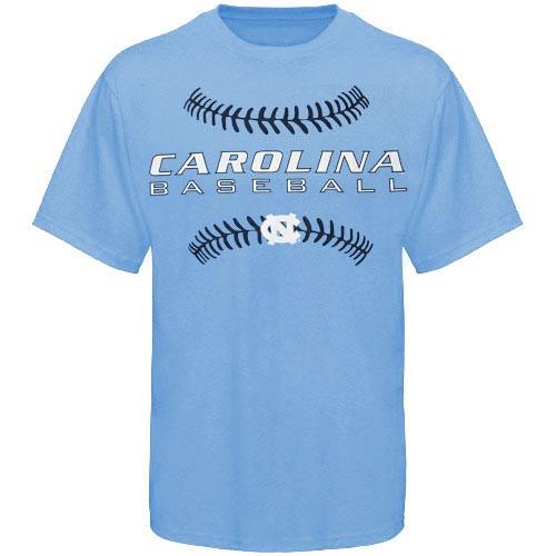 Carolina blue tee with a Carolina Baseball and the outline stitches of a baseball screen print logo.