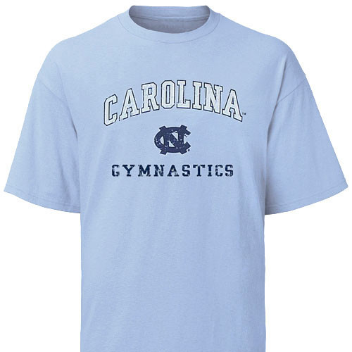 Carolina Blue Faded Gymnastics Tee - Carolina is arched over an NC with Gymnastics underneath.
