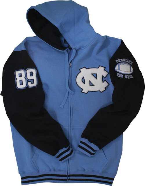 A full zip hood with a Carolina Blue body and navy sleeves.  The decorations are chenille numbers 89 down the right sleeve.  The left sleeve has a chenille football and the left chest is a chenille interlocking NC.