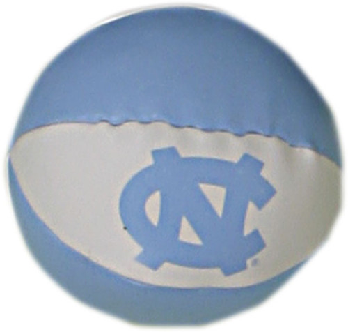 A small stuffed basketball in alternating stripes of Carolina Blue and white.