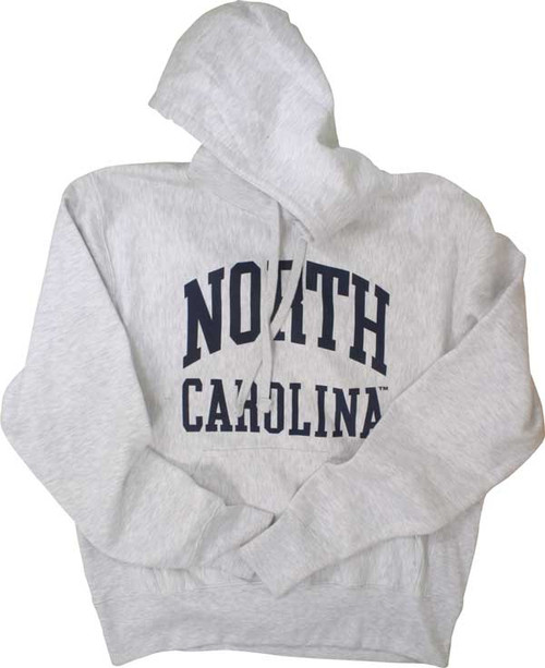 Heather gray hooded sweatshirt with navy print North over Carolina