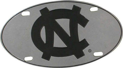 An oval pewter license plate with a black interlocking NC in the center.