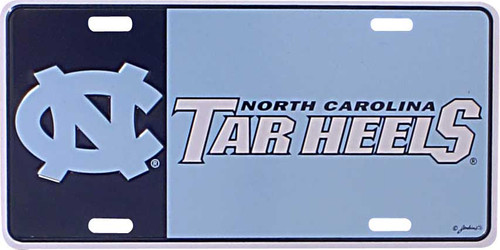 License plate that is part Carolina Blue and part navy with an interlocking NC and Carolina Tar Heels.