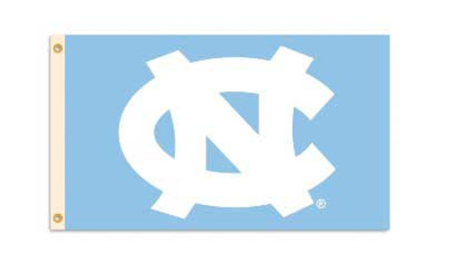 3 by 5 banner with a big interlocking NC on a Carolina Blue background