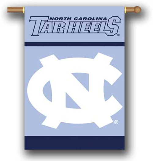 28 by 40 house flag with an interlocking NC and the lettering Carolina Tar Heels