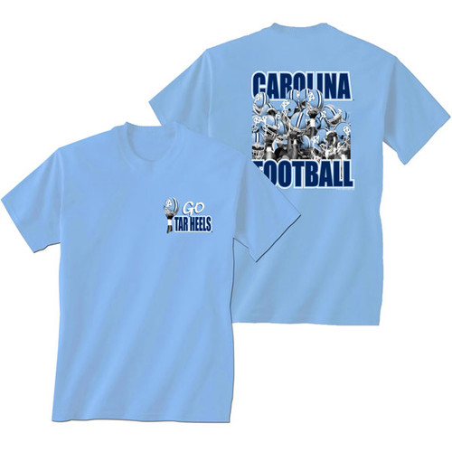 Carolina Blue tee shirt with a left chest of a hand holding up a helmet, on the back a group of players all holding their helmets up together.
