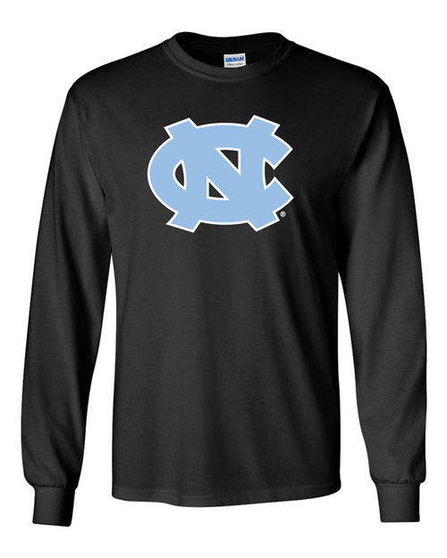 Black long sleeve tee shirt with a big interlocking NC on the front.