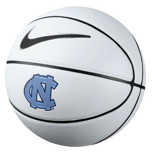Carolina Autograph Nike Basketball - half white, and have brown - interlocking NC logo.