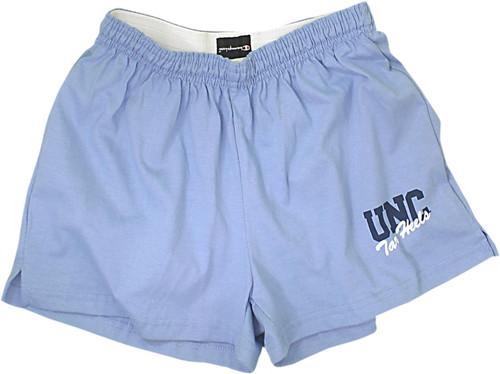 Carolina Champion cheer shorts UNC Tar Heels screen-printed on the left leg,
