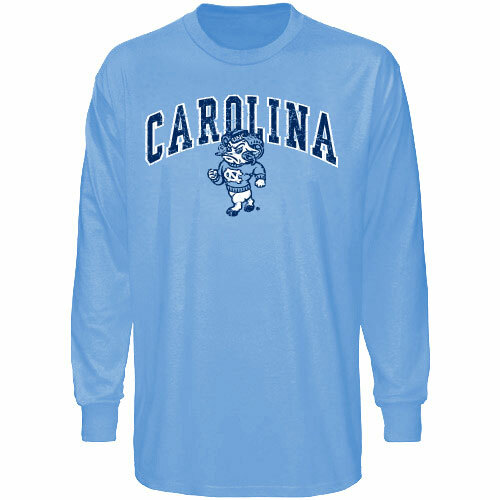 Carolina Blue Long Sleeve Tee with Standing Ram under Carolina in an arc design