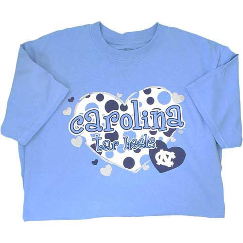 Carolina blue tee with multiple hearts filled with polka dots some in shimmer ink among lettering Carolina Tar Heels
