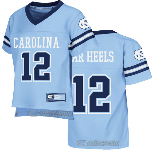 Carolina Blue football jersey with Carolina 12 on the front and Tar Heels 12 on the back.  Sleeves are striped and have interlocking NC.