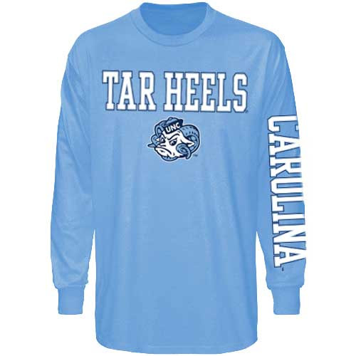 Tar Heels Ram Face with CAROLINA sleeve print LONG SLEEVE Tee - Carolina Blue