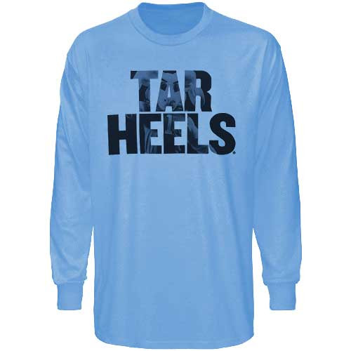 Tar Heels Rameses Picture LONG SLEEVE Tee - Carolina Blue