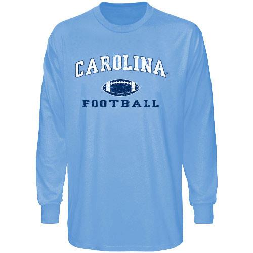 Carolina Blue Long Sleeve Faded Football Tee-
